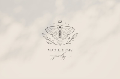 Premade Magic Gems Brand Logo and Packaging Design for Blog, Business.