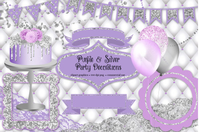 Purple and Silver Party Decorations