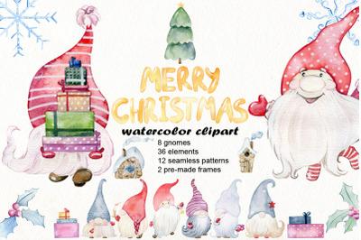 Christmas gnomes. Watercolor clipart.