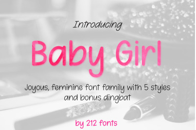 Baby Girl Sans Font with 5 Styles, Slant, Thin, Hearts