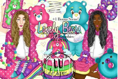 Rainbow Bears Clipart, Cute Teddy Bears Clipart, Lovely Bears Graphics