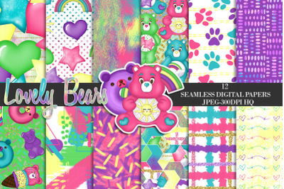 Cute Teddy Bears Digital Papers, Rainbow Bears Background, Party Paper