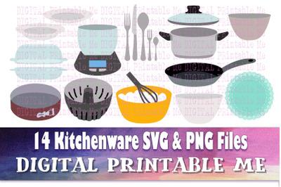 Kitchenware SVG pack, Pots Pans, Clip art bundle, PNG, 14 image, Digit
