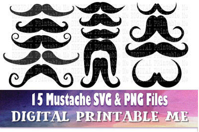 Mustache Silhouette, Clip Art Pack, SVG PNG, 15 Images, Pack, Digital,