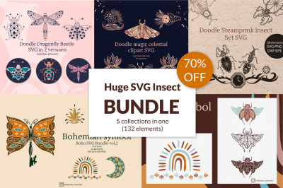 Huge Doodle Insect Bundle SVG Graphic 5 in 1 70 % OFF