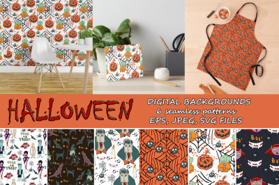 Halloween digital hand drawn patterns