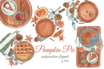 Pumpkin Pie Clipart. Watercolor Fall PNG. Thanksgiving