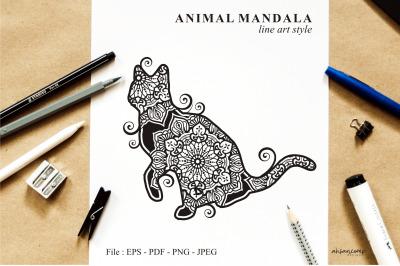 Cat Mandala Vector Line Art Style