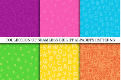 Colorful seamless alphabet patterns