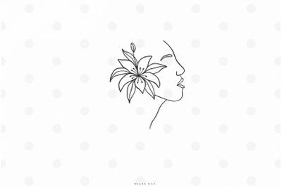 Female silhouette line art svg cut file