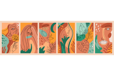 Female abstract posters. Contemporary outline girls faces, trendy flor