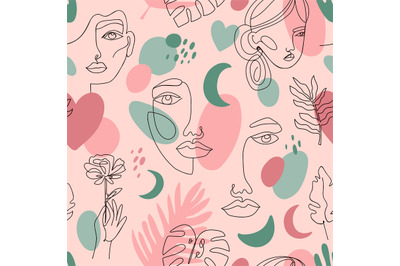 Abstract female portraits pattern. Seamless hand drawn outline female