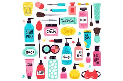 Makeup skincare elements. Cosmetics products, doodle visage tools, lip