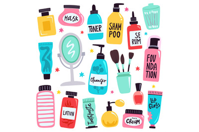 Makeup tools. Skincare routine cosmetic products, hand drawn skincare