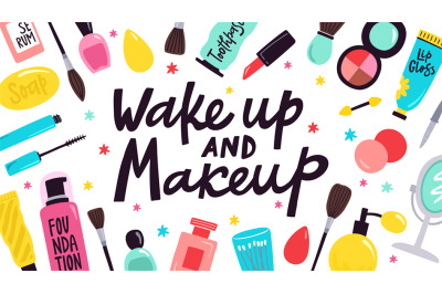Makeup poster. Skincare cosmetic products, hand drawn doodle visage to