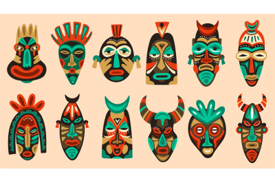 Traditional tribal masks. Ritual african or hawaiian traditional cerem