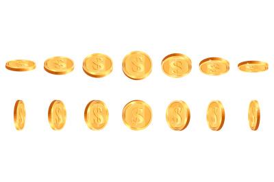 Realistic gold coins. Golden shiny cash coin, jackpot coin dollar anim