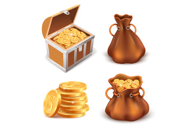 Realistic golden treasure. Coins stack, wooden treasure chest and canv