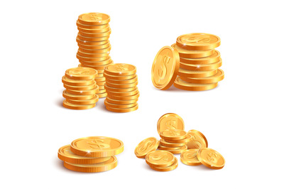 Realistic coins pile. Golden coin dollar stack, 3D jackpot coins, gold