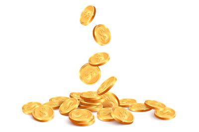 Realistic falling coins. Golden coin falling down, 3D gold jackpot rai