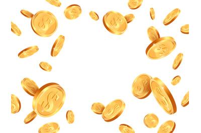 Realistic gold coins. Golden coins explosion backdrop, casino jackpot