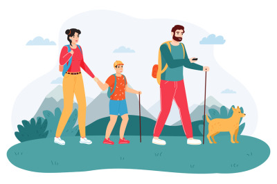 Family outdoor journey. Happy hiking family, active adventure tourism,