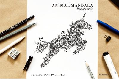 Unicorn Mandala Vector Line Art Style