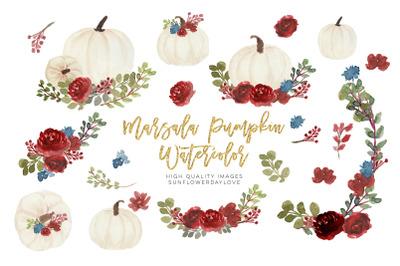 marsala autumn pumpkin clipart, Watercolor Fall Pumpkin Floral