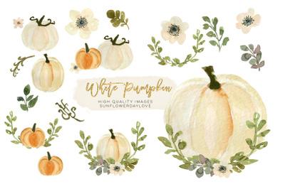 White Pumpkin Greenery Arrangement Watercolor Clipart