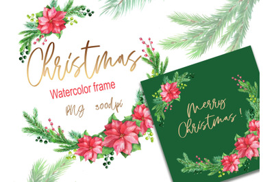 Watercolor christmas frame wreath new year winter