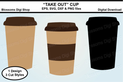 Take Out Cup SVG, EPS, DXF and PNG cut files