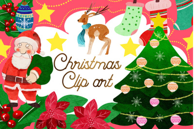 Christmas Watercolor  Clipart - Christmas Items Download - Instant Dow