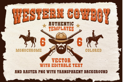 Cowboy Western Logo Template Pack