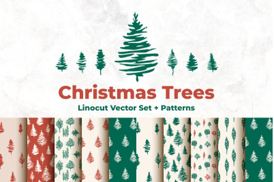 Christmas Trees - Linocut Vector Set and Seamless Patterns