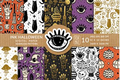 Halloween. Digital paper, seamless pattern.
