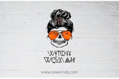 Witchy Woman PNG - Halloween Woman Skull Bun Spider - Witch face Png