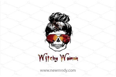Witchy Woman PNG  - Halloween Skull bun with spider Png - Woman Skull