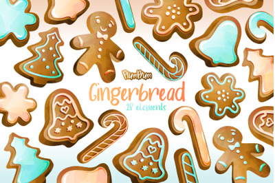 Gingerbread Watercolor Cliparts