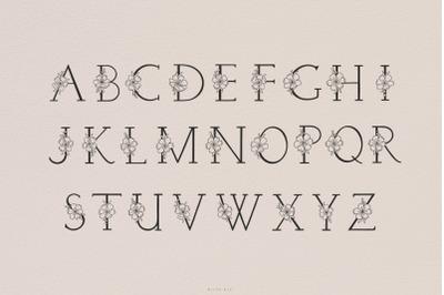 Flower alphabet svg font cutting files