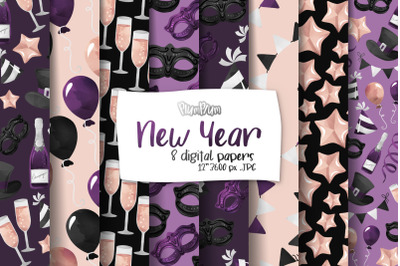 New Year Digital Papers