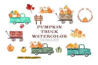 Fall Pumpkin Truck clipart, Old Truck Pumpkin, Truck with Pumpkins