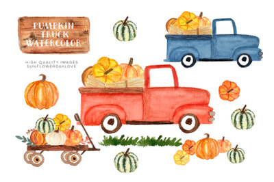 Watercolor Red Truck with Pumpkins, Harvest Trucks, Thanksgiving