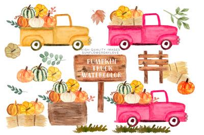 Pink Vintage Trucks clipart, Pumpkin Watercolor fall clipart, vintage