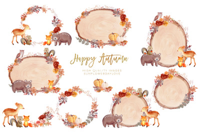 Woodland Animals Watercolor Frames Clipart, Forest Animal Clip Art