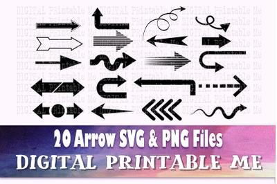 Arrow Silhouette SVG bundle, Clip art, PNG, 20 image pack, Digital, cu