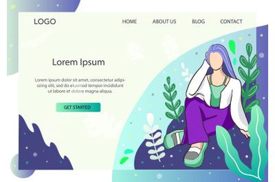 Landing Page Fashion Girl in Aqua mode