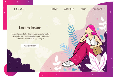 Landing Page Fashion with Girl in Pink hair style