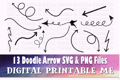Arrow Doodle SVG bundle, Clip art, PNG, 20 image pack, Digital, cut fi