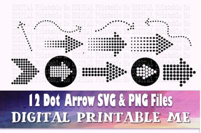 Arrow Dots SVG bundle, Clip art, PNG, 13 image pack, Digital, cut file