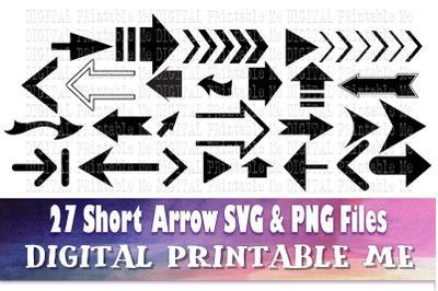 Short Arrow SVG bundle, Clip art, PNG, 27 image pack, Digital, cut fil